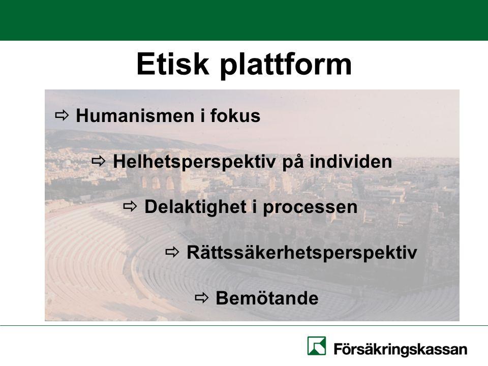 Etisk plattform  Humanismen i fokus  Helhetsperspektiv på individen  Delaktighet i processen  Rättssäkerhetsperspektiv  Bemötande