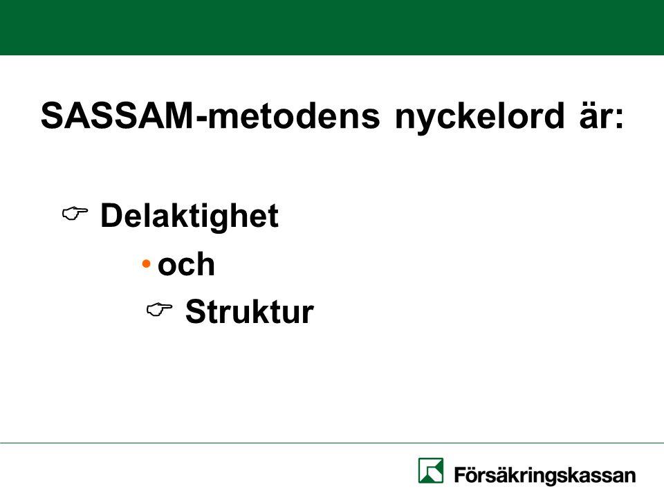 SASSAM-metodens nyckelord är:  Delaktighet och  Struktur
