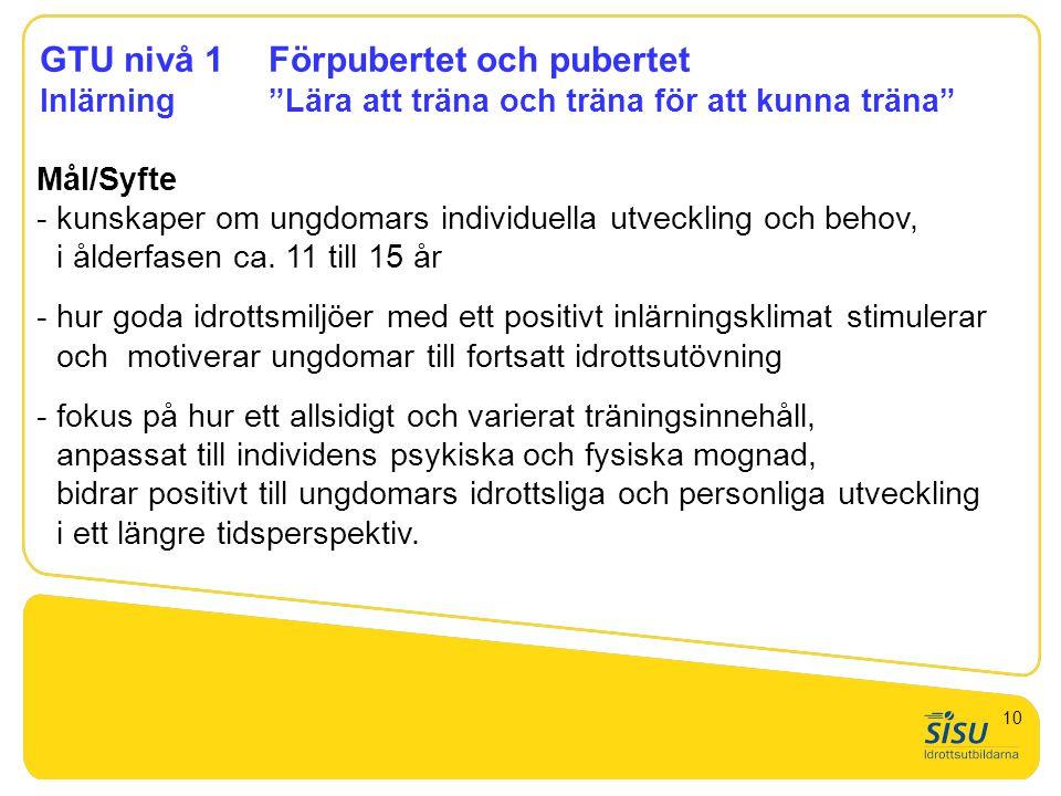 """GTU nivå 1Förpubertet och pubertet Inlärning""""Lära att träna och träna för att kunna träna"""" Mål/Syfte - kunskaper om ungdomars individuella utveckling"""