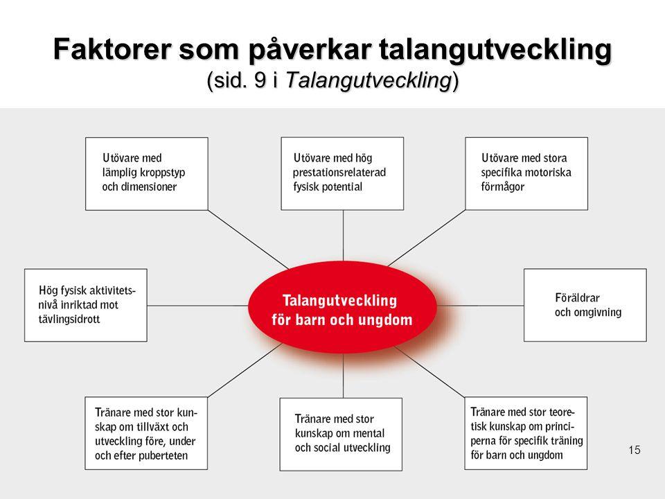 15 Faktorer som påverkar talangutveckling (sid. 9 i Talangutveckling) 15
