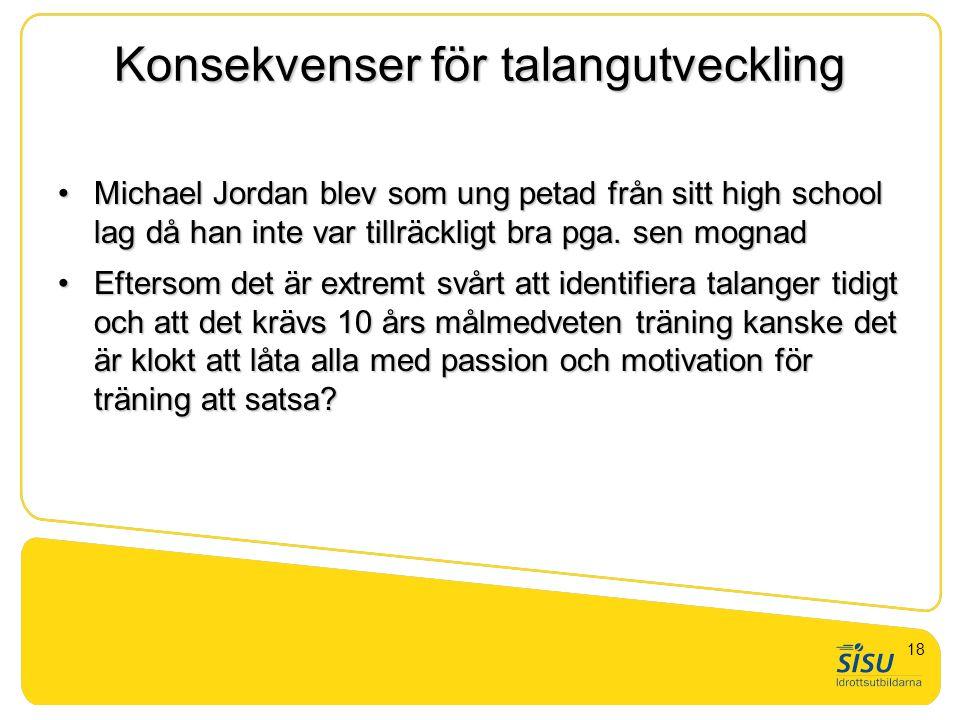 Konsekvenser för talangutveckling Michael Jordan blev som ung petad från sitt high school lag då han inte var tillräckligt bra pga. sen mognadMichael