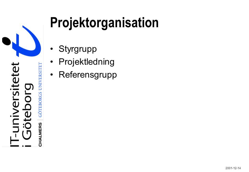 2001-12-14 Projektorganisation Styrgrupp Projektledning Referensgrupp