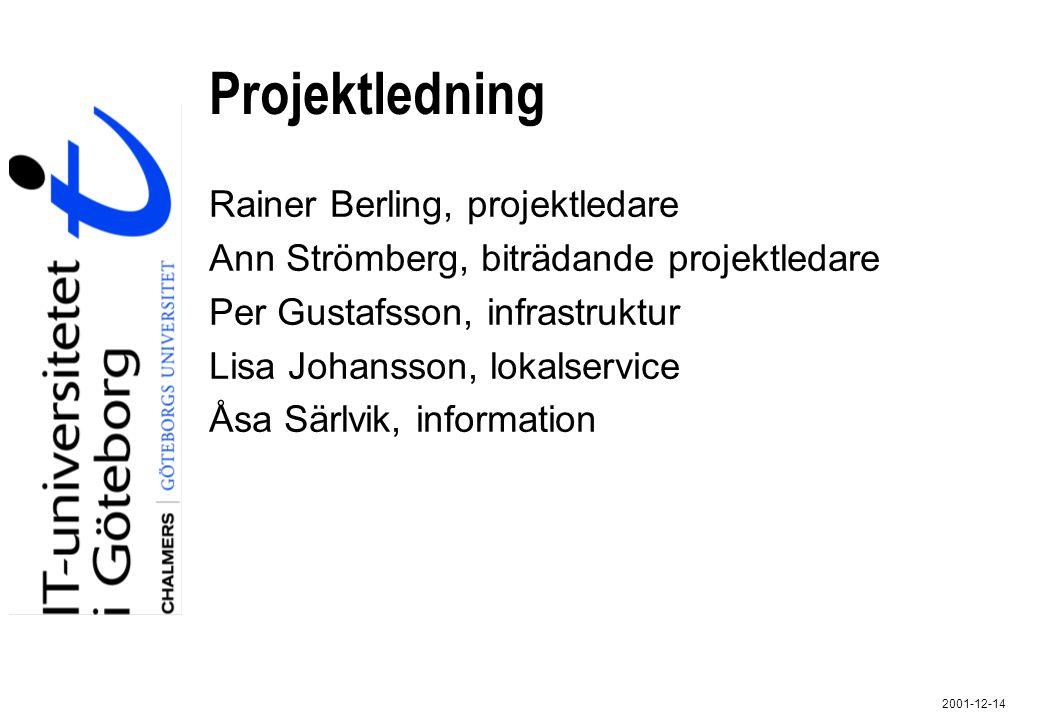 2001-12-14 Projektledning Rainer Berling, projektledare Ann Strömberg, biträdande projektledare Per Gustafsson, infrastruktur Lisa Johansson, lokalser