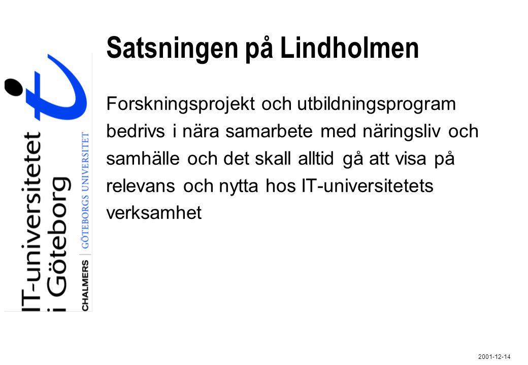 2001-12-14 Satsningen på Lindholmen Forskningsprojekt och utbildningsprogram bedrivs i nära samarbete med näringsliv och samhälle och det skall alltid
