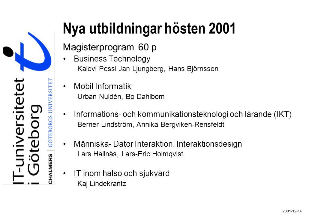 Nya utbildningar hösten 2001 Magisterprogram 60 p Business Technology Kalevi Pessi Jan Ljungberg, Hans Björnsson Mobil Informatik Urban Nuldén, Bo Dah