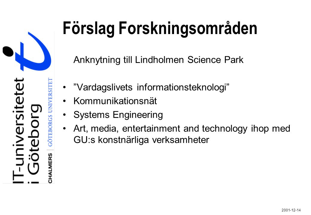 """2001-12-14 Förslag Forskningsområden Anknytning till Lindholmen Science Park """"Vardagslivets informationsteknologi"""" Kommunikationsnät Systems Engineeri"""