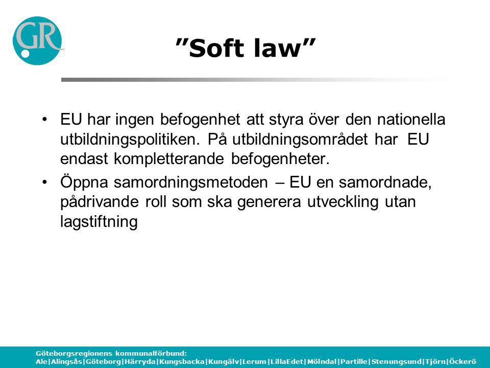 Göteborgsregionens kommunalförbund: Ale|Alingsås|Göteborg|Härryda|Kungsbacka|Kungälv|Lerum|LillaEdet|Mölndal|Partille|Stenungsund|Tjörn|Öckerö Soft law EU har ingen befogenhet att styra över den nationella utbildningspolitiken.