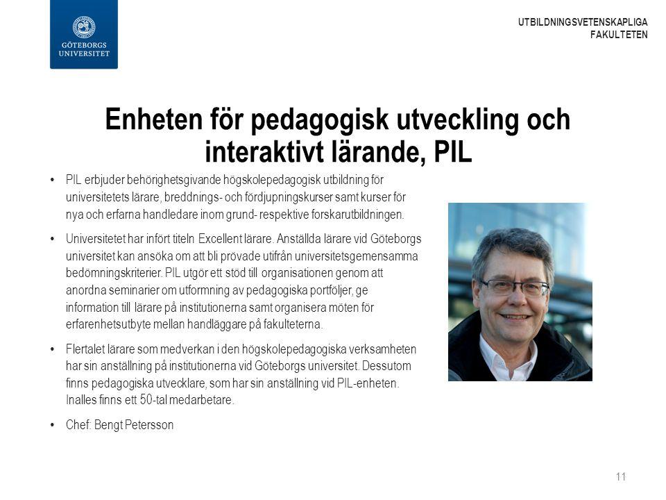Enheten för pedagogisk utveckling och interaktivt lärande, PIL PIL erbjuder behörighetsgivande högskolepedagogisk utbildning för universitetets lärare