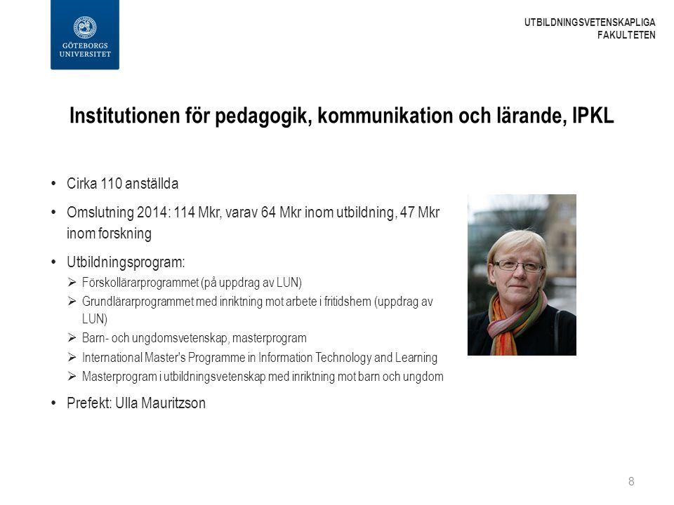 Institutionen för pedagogik, kommunikation och lärande, IPKL Cirka 110 anställda Omslutning 2014: 114 Mkr, varav 64 Mkr inom utbildning, 47 Mkr inom f