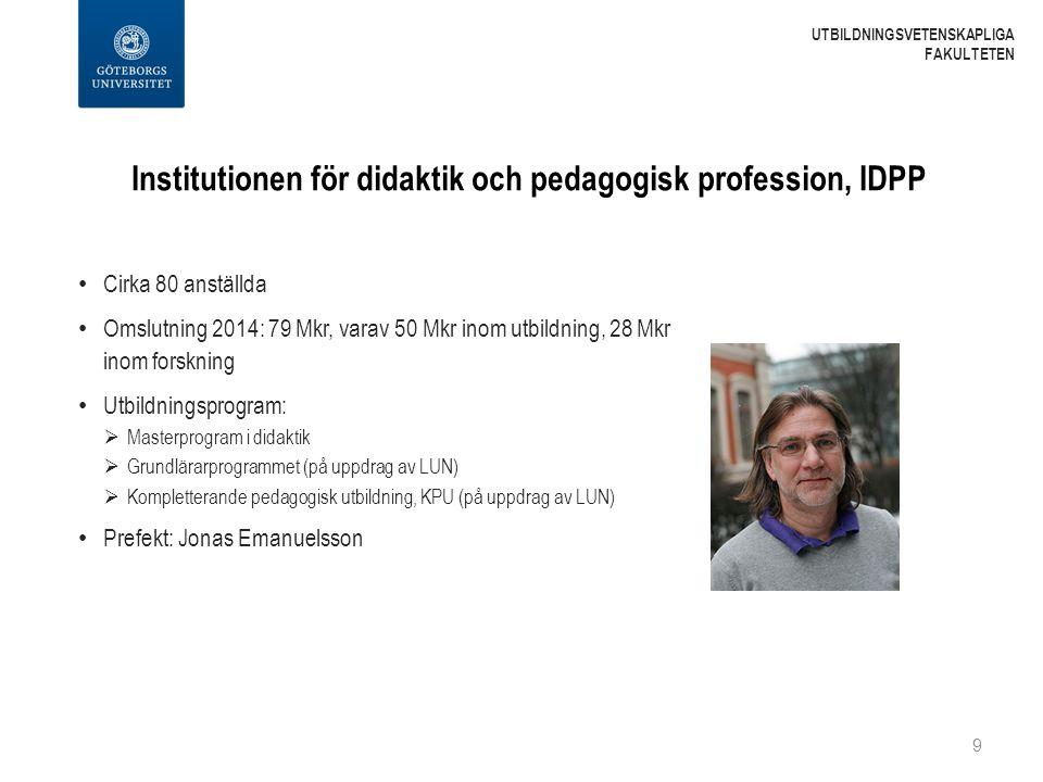 Institutionen för didaktik och pedagogisk profession, IDPP Cirka 80 anställda Omslutning 2014: 79 Mkr, varav 50 Mkr inom utbildning, 28 Mkr inom forsk