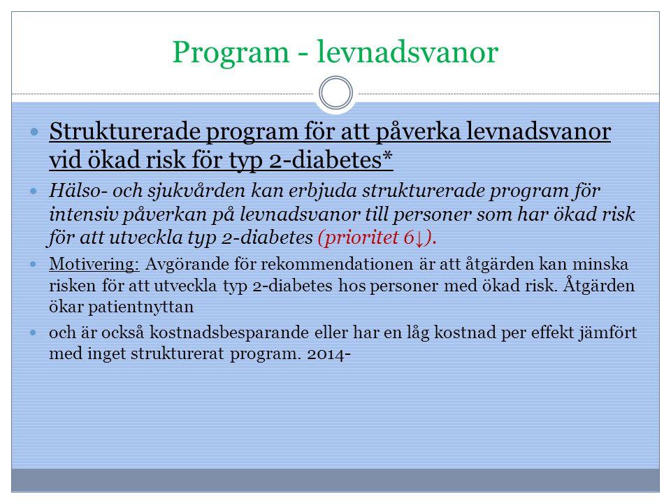 Program - levnadsvanor Strukturerade program för att påverka levnadsvanor vid ökad risk för typ 2-diabetes* Hälso- och sjukvården kan erbjuda struktur