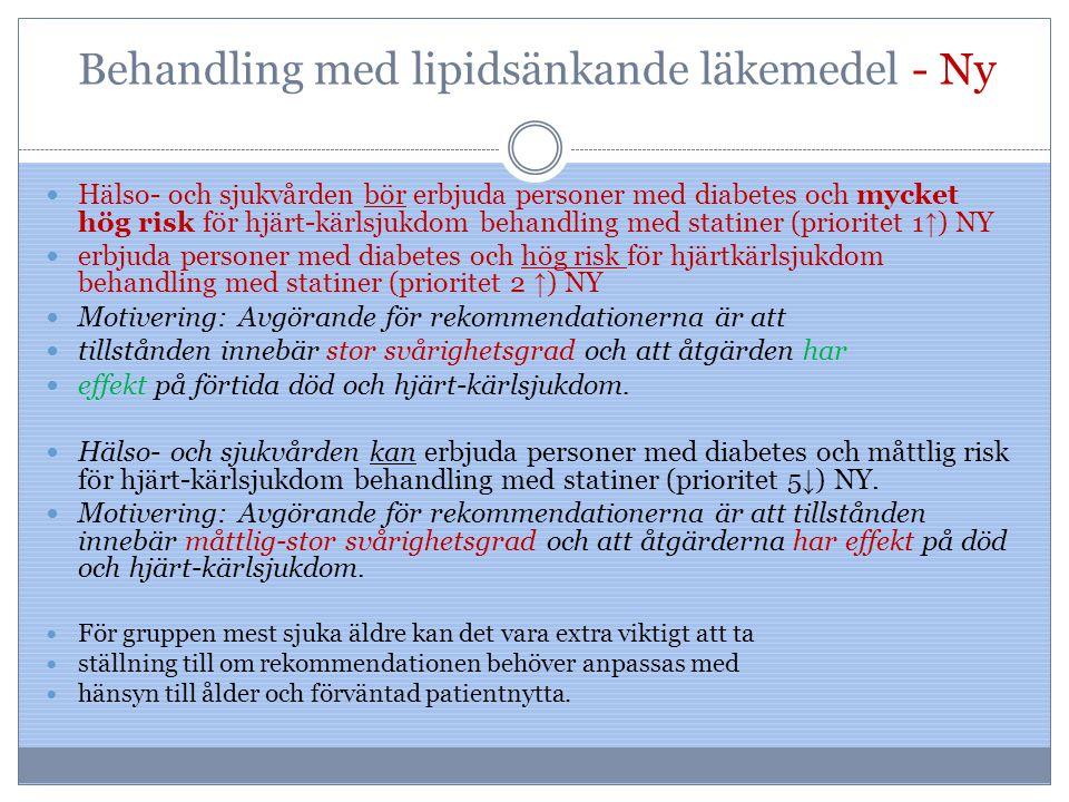 Behandling med lipidsänkande läkemedel - Ny Hälso- och sjukvården bör erbjuda personer med diabetes och mycket hög risk för hjärt-kärlsjukdom behandli