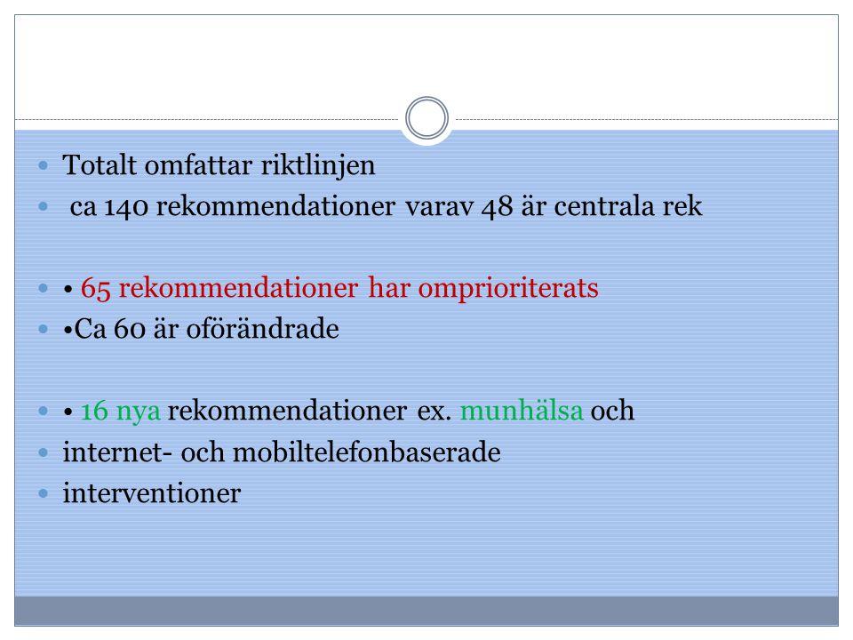 Totalt omfattar riktlinjen ca 140 rekommendationer varav 48 är centrala rek 65 rekommendationer har omprioriterats Ca 60 är oförändrade 16 nya rekomme