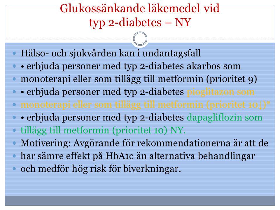 Glukossänkande läkemedel vid typ 2-diabetes – NY Hälso- och sjukvården kan i undantagsfall erbjuda personer med typ 2-diabetes akarbos som monoterapi