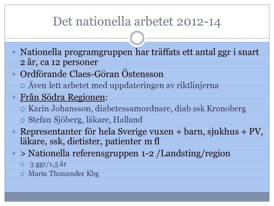 Det nationella arbetet 2012-14 Nationella programgruppen har träffats ett antal ggr i snart 2 år, ca 12 personer Ordförande Claes-Göran Östensson  Äv