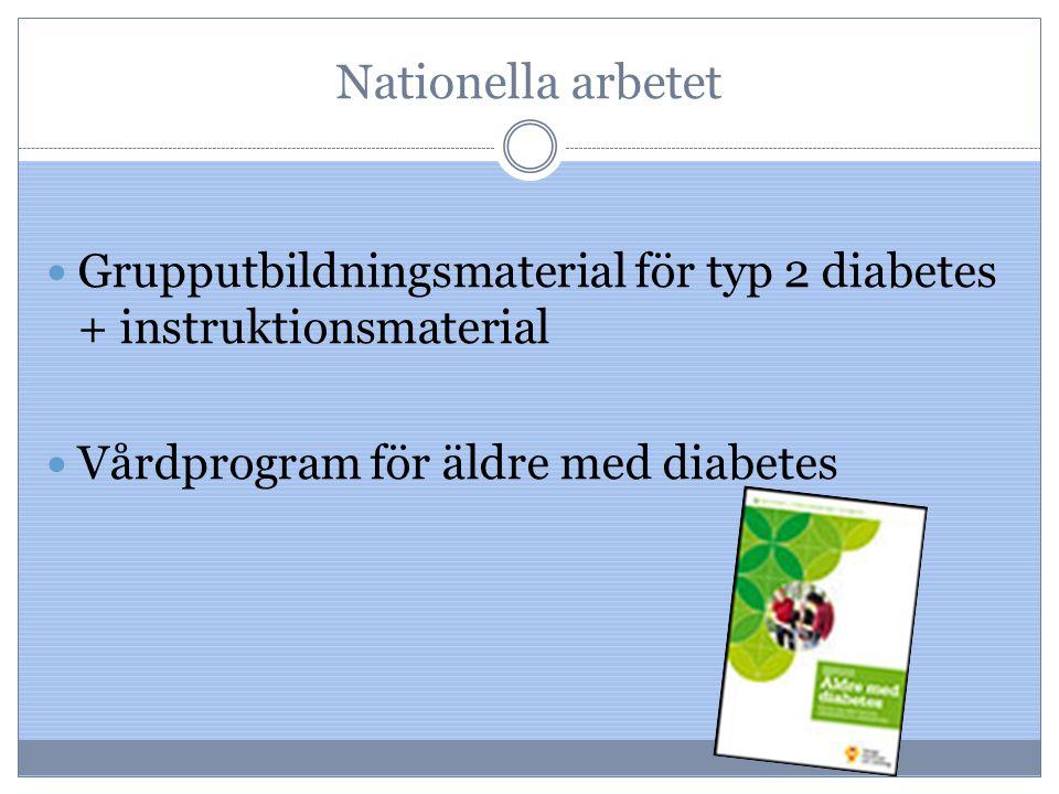 Nationella arbetet Grupputbildningsmaterial för typ 2 diabetes + instruktionsmaterial Vårdprogram för äldre med diabetes