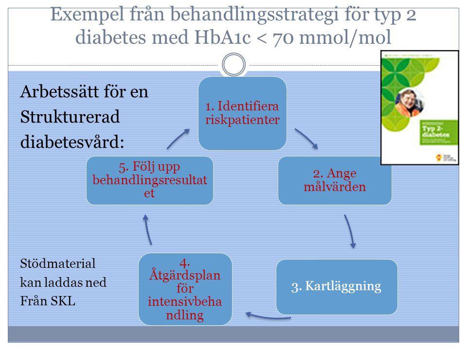 Exempel från behandlingsstrategi för typ 2 diabetes med HbA1c < 70 mmol/mol Arbetssätt för en Strukturerad diabetesvård: Stödmaterial kan laddas ned F