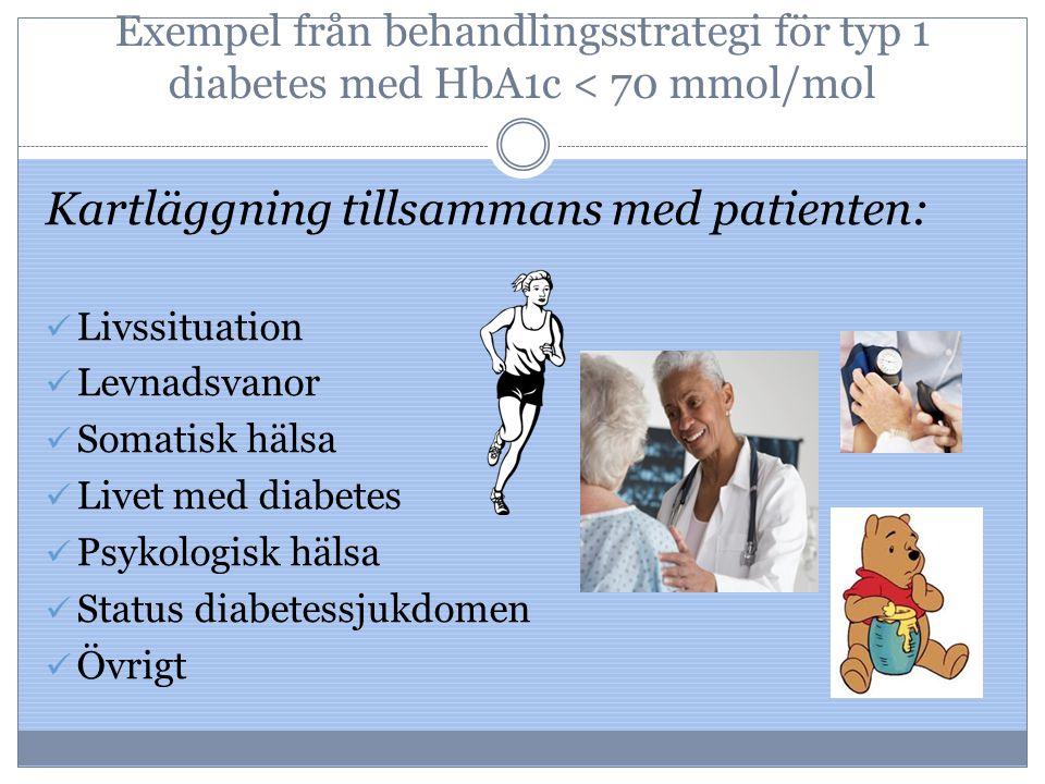Exempel från behandlingsstrategi för typ 1 diabetes med HbA1c < 70 mmol/mol Kartläggning tillsammans med patienten: Livssituation Levnadsvanor Somatis