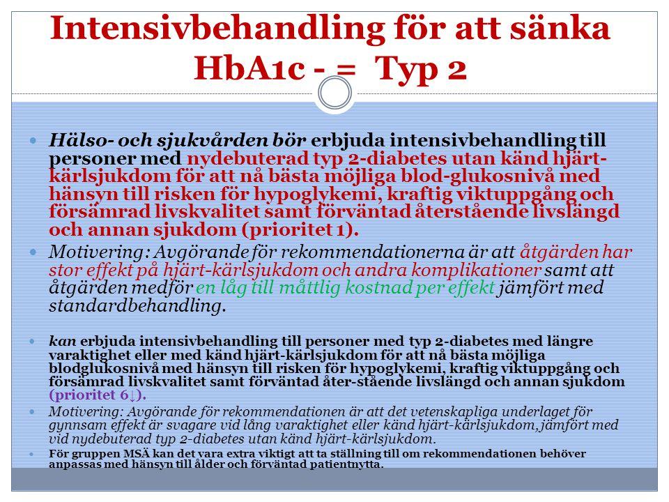 Intensivbehandling för att sänka HbA1c - = Typ 2 Hälso- och sjukvården bör erbjuda intensivbehandling till personer med nydebuterad typ 2-diabetes uta