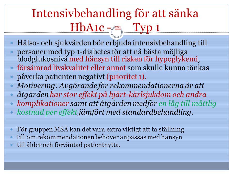 Intensivbehandling för att sänka HbA1c - = Typ 1 Hälso- och sjukvården bör erbjuda intensivbehandling till personer med typ 1-diabetes för att nå bäst