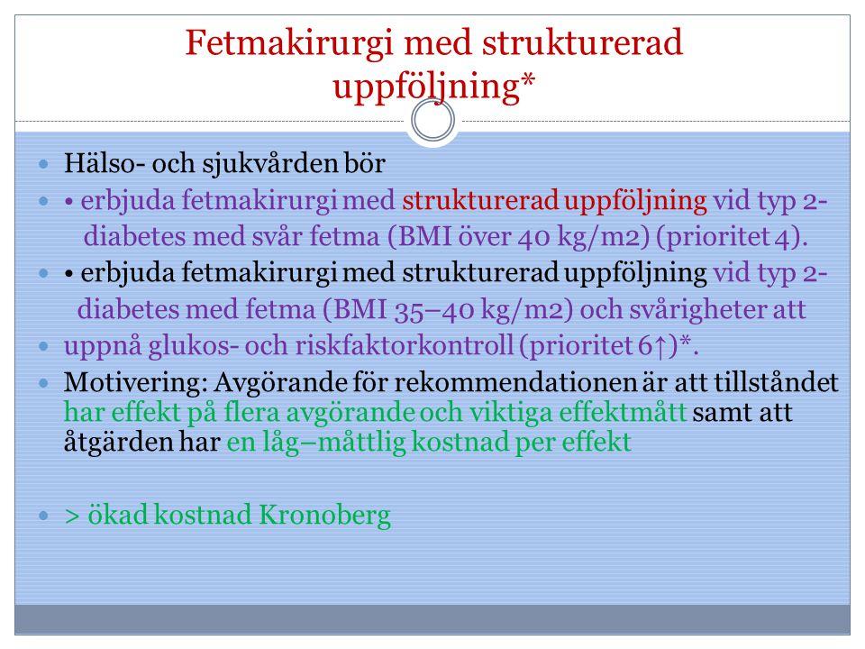 Fetmakirurgi med strukturerad uppföljning* Hälso- och sjukvården bör erbjuda fetmakirurgi med strukturerad uppföljning vid typ 2- diabetes med svår fe