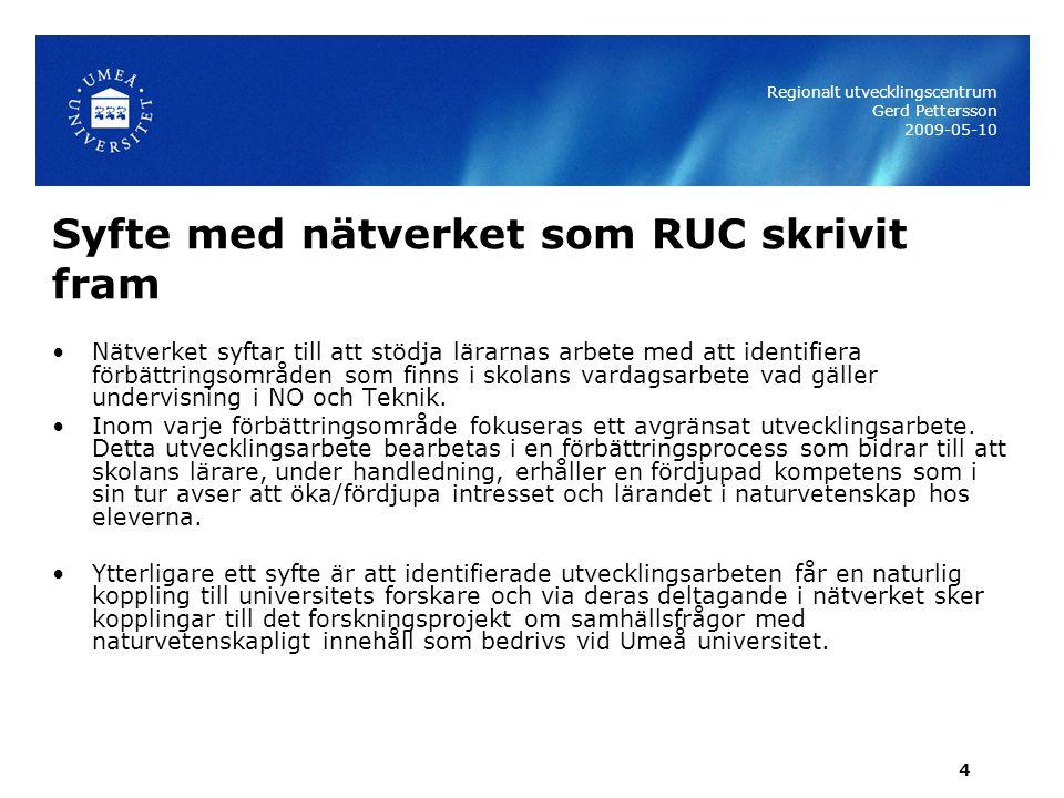 5 Ge och ta …om nätverk i praktiken Regionalt utvecklingscentrum Gerd Pettersson 2009-05-10