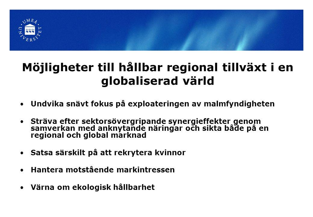 Möjligheter till hållbar regional tillväxt i en globaliserad värld Undvika snävt fokus på exploateringen av malmfyndigheten Sträva efter sektorsövergr