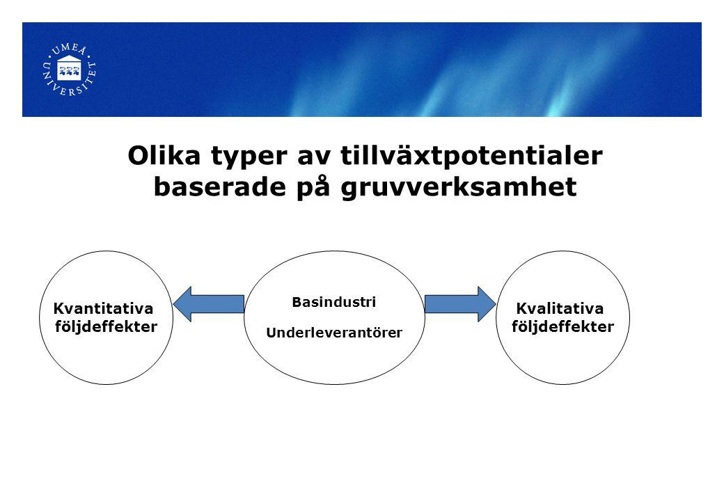 Olika typer av tillväxtpotentialer baserade på gruvverksamhet Basindustri Underleverantörer Kvalitativa följdeffekter Kvantitativa följdeffekter