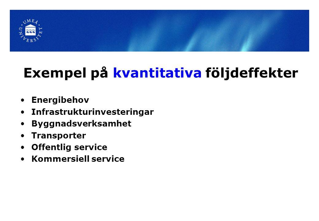 Exempel på kvantitativa följdeffekter Energibehov Infrastrukturinvesteringar Byggnadsverksamhet Transporter Offentlig service Kommersiell service