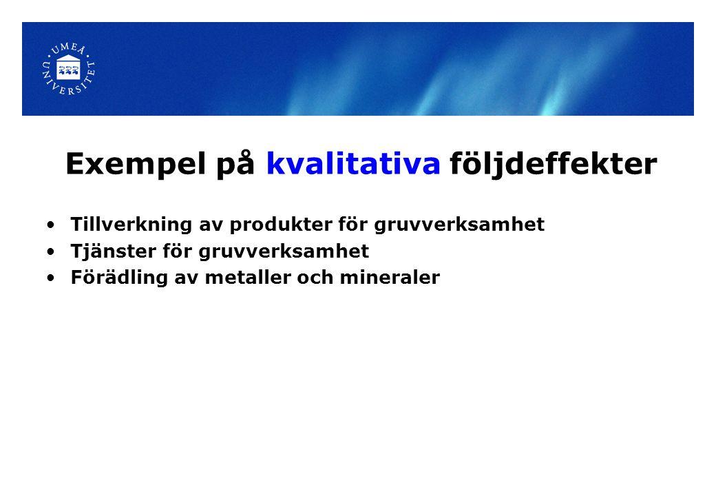 Exempel på kvalitativa följdeffekter Tillverkning av produkter för gruvverksamhet Tjänster för gruvverksamhet Förädling av metaller och mineraler
