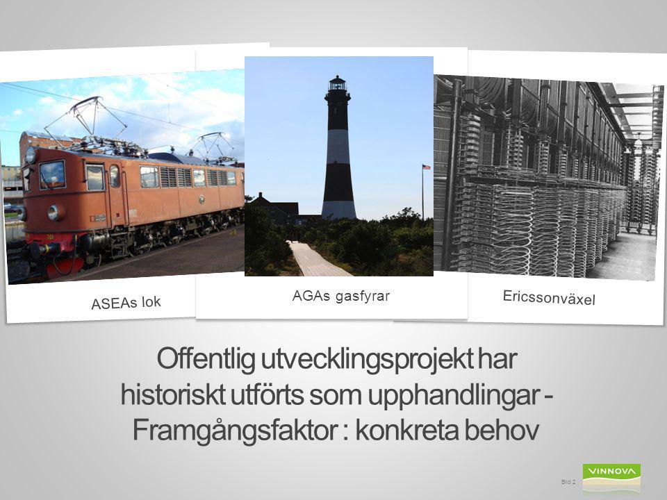 Bild 2 Offentlig utvecklingsprojekt har historiskt utförts som upphandlingar - Framgångsfaktor : konkreta behov Ericssonväxel ASEAs lok AGAs gasfyrar