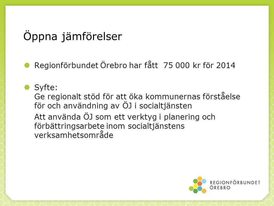 Öppna jämförelser Regionförbundet Örebro har fått 75 000 kr för 2014 Syfte: Ge regionalt stöd för att öka kommunernas förståelse för och användning av