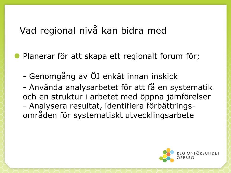 Vad regional nivå kan bidra med Planerar för att skapa ett regionalt forum för; - Genomgång av ÖJ enkät innan inskick - Använda analysarbetet för att