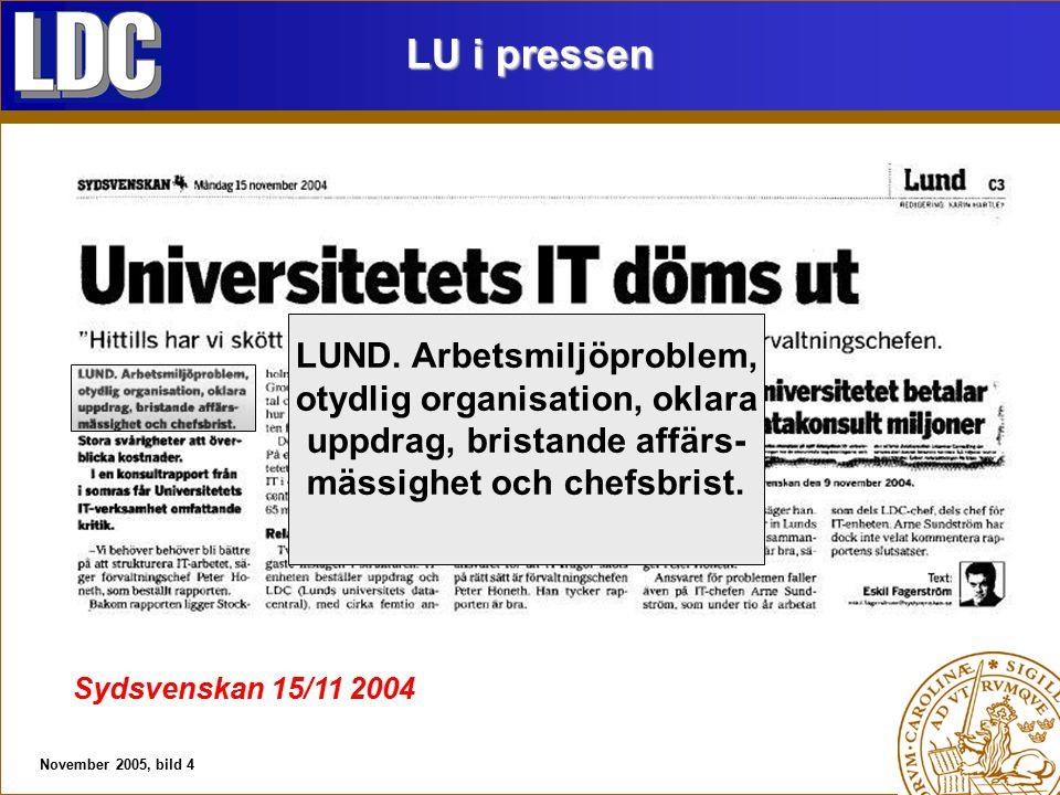 November 2005, bild 4 LU i pressen Sydsvenskan 15/11 2004 LUND.