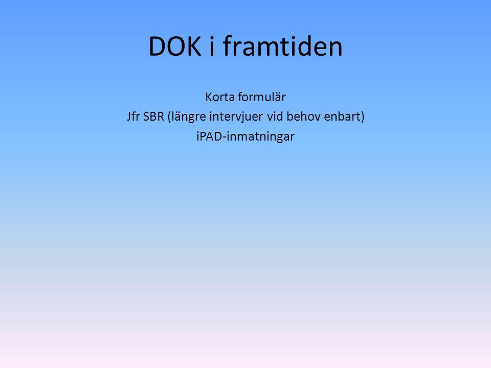 DOK i framtiden Korta formulär Jfr SBR (längre intervjuer vid behov enbart) iPAD-inmatningar