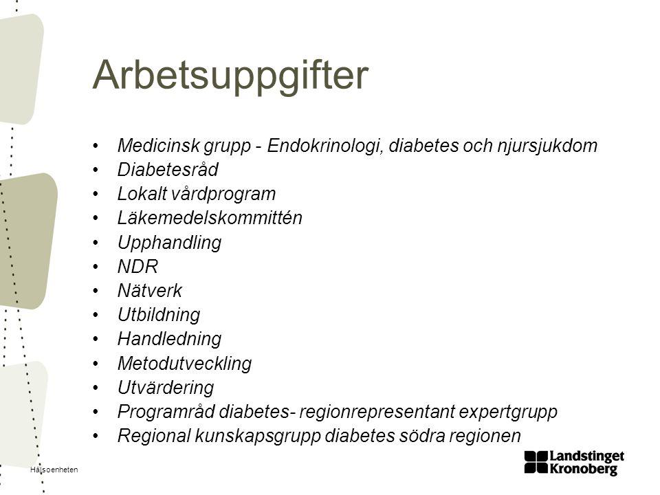 Hälsoenheten Arbetsuppgifter Medicinsk grupp - Endokrinologi, diabetes och njursjukdom Diabetesråd Lokalt vårdprogram Läkemedelskommittén Upphandling