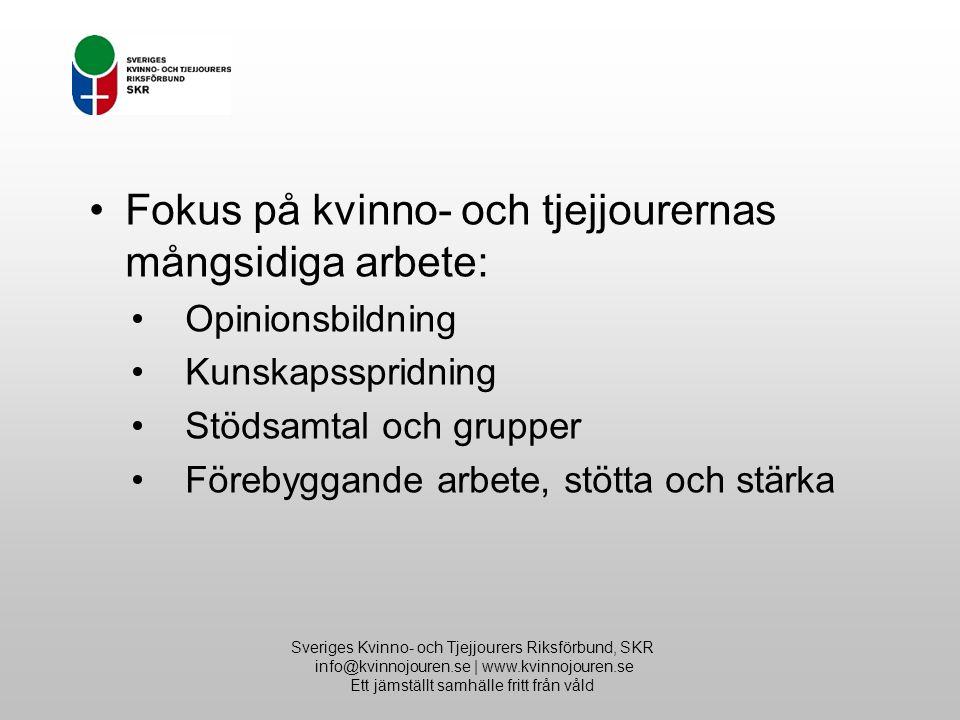 Sveriges Kvinno- och Tjejjourers Riksförbund, SKR info@kvinnojouren.se | www.kvinnojouren.se Ett jämställt samhälle fritt från våld Fokus på kvinno- och tjejjourernas mångsidiga arbete: Opinionsbildning Kunskapsspridning Stödsamtal och grupper Förebyggande arbete, stötta och stärka