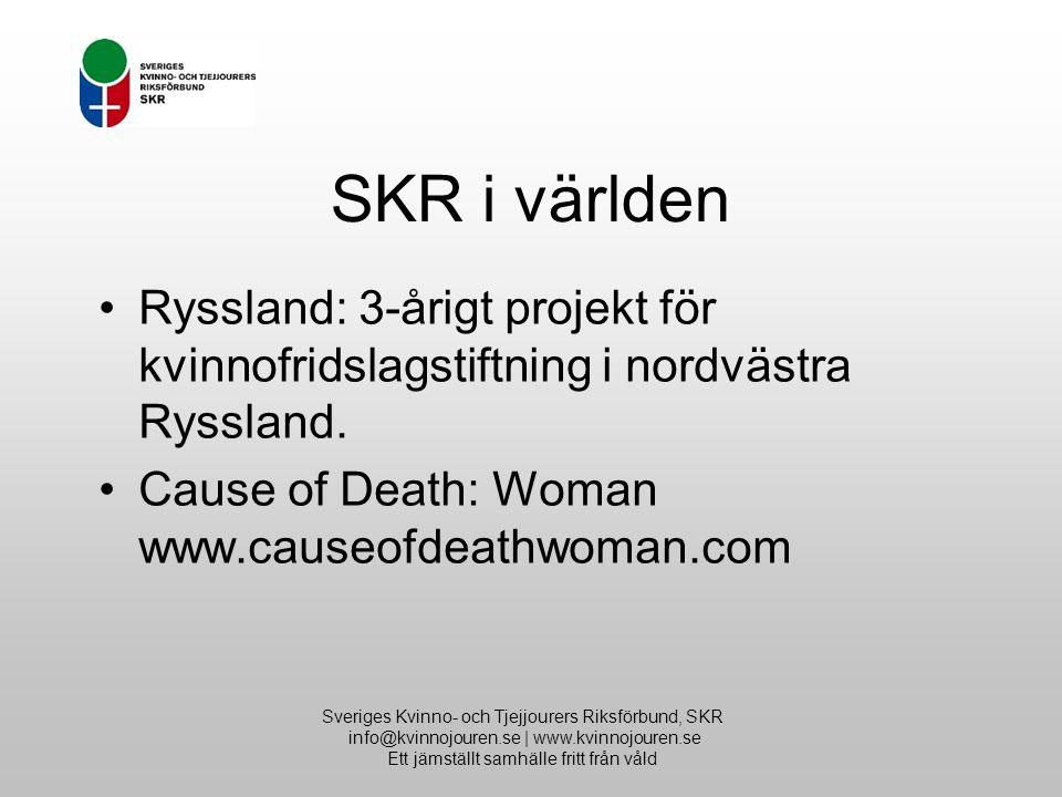 Sveriges Kvinno- och Tjejjourers Riksförbund, SKR info@kvinnojouren.se | www.kvinnojouren.se Ett jämställt samhälle fritt från våld SKR i världen Ryssland: 3-årigt projekt för kvinnofridslagstiftning i nordvästra Ryssland.