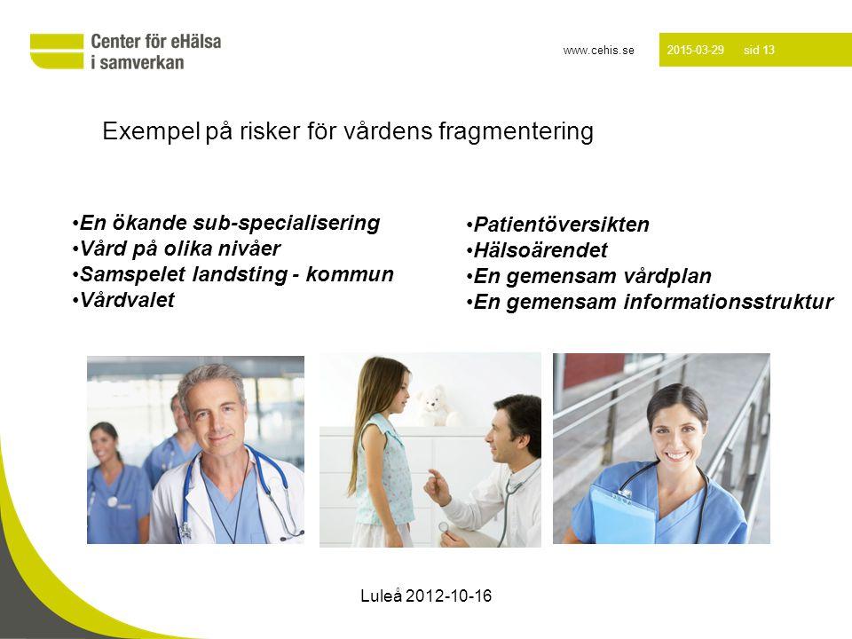 www.cehis.se 2015-03-29 sid 13 Exempel på risker för vårdens fragmentering En ökande sub-specialisering Vård på olika nivåer Samspelet landsting - kom