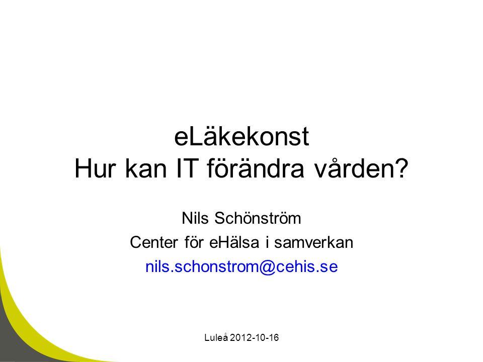 eLäkekonst Hur kan IT förändra vården? Nils Schönström Center för eHälsa i samverkan nils.schonstrom@cehis.se Luleå 2012-10-16
