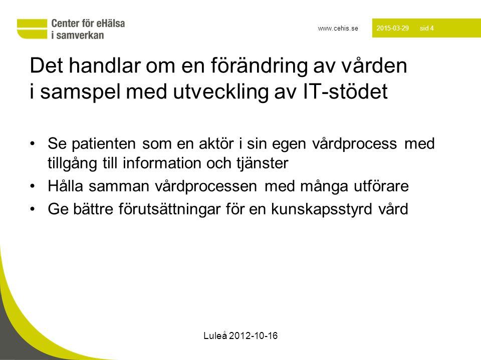 www.cehis.se 2015-03-29 sid 15 Luleå 2012-10-16 En kunskapsstyrd vård Journalen Andra- register Besluts- Stöd Dokumentations stöd Andra källor Kvalitets- register