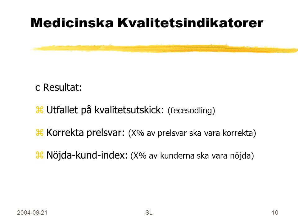 2004-09-21SL10 Medicinska Kvalitetsindikatorer c Resultat: zUtfallet på kvalitetsutskick: (fecesodling) zKorrekta prelsvar: (X% av prelsvar ska vara korrekta) zNöjda-kund-index: (X% av kunderna ska vara nöjda)