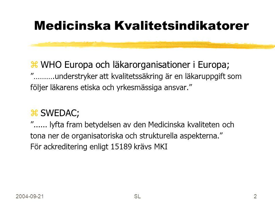 2004-09-21SL2 Medicinska Kvalitetsindikatorer zWHO Europa och läkarorganisationer i Europa; ……….understryker att kvalitetssäkring är en läkaruppgift som följer läkarens etiska och yrkesmässiga ansvar. zSWEDAC; ......