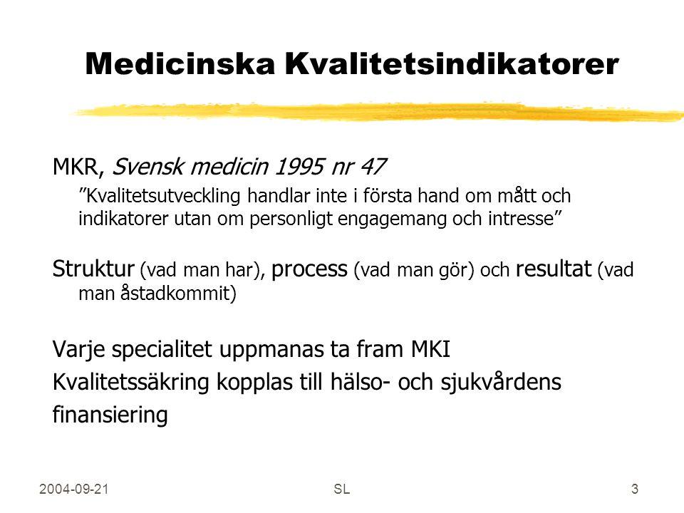 2004-09-21SL3 Medicinska Kvalitetsindikatorer MKR, Svensk medicin 1995 nr 47 Kvalitetsutveckling handlar inte i första hand om mått och indikatorer utan om personligt engagemang och intresse Struktur (vad man har), process (vad man gör) och resultat (vad man åstadkommit) Varje specialitet uppmanas ta fram MKI Kvalitetssäkring kopplas till hälso- och sjukvårdens finansiering