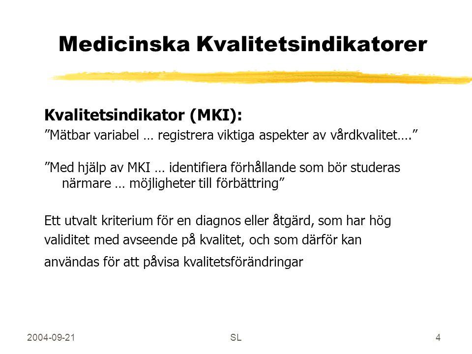 2004-09-21SL4 Medicinska Kvalitetsindikatorer Kvalitetsindikator (MKI): Mätbar variabel … registrera viktiga aspekter av vårdkvalitet…. Med hjälp av MKI … identifiera förhållande som bör studeras närmare … möjligheter till förbättring Ett utvalt kriterium för en diagnos eller åtgärd, som har hög validitet med avseende på kvalitet, och som därför kan användas för att påvisa kvalitetsförändringar