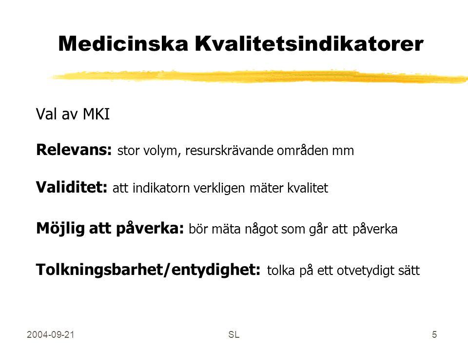 2004-09-21SL5 Medicinska Kvalitetsindikatorer Val av MKI Relevans: stor volym, resurskrävande områden mm Validitet: att indikatorn verkligen mäter kvalitet Möjlig att påverka: bör mäta något som går att påverka Tolkningsbarhet/entydighet: tolka på ett otvetydigt sätt