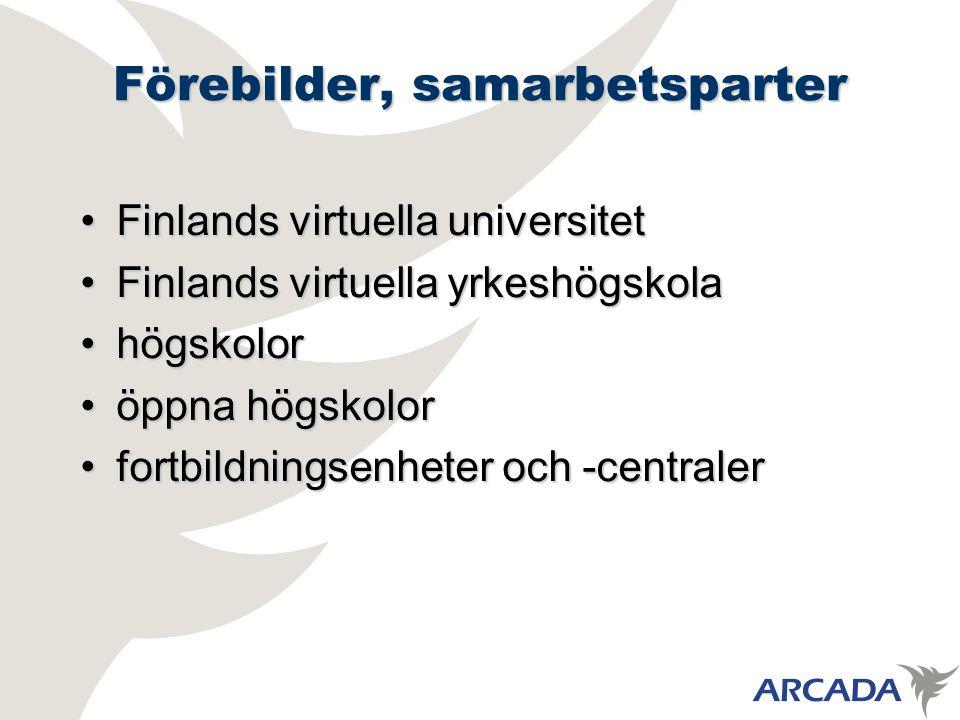 Förebilder, samarbetsparter Finlands virtuella universitetFinlands virtuella universitet Finlands virtuella yrkeshögskolaFinlands virtuella yrkeshögskola högskolorhögskolor öppna högskoloröppna högskolor fortbildningsenheter och -centralerfortbildningsenheter och -centraler