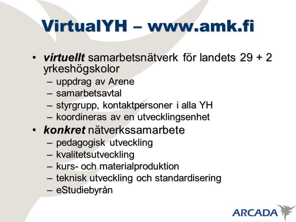 VirtualYH – www.amk.fi virtuellt samarbetsnätverk för landets 29 + 2 yrkeshögskolorvirtuellt samarbetsnätverk för landets 29 + 2 yrkeshögskolor –uppdrag av Arene –samarbetsavtal –styrgrupp, kontaktpersoner i alla YH –koordineras av en utvecklingsenhet konkret nätverkssamarbetekonkret nätverkssamarbete –pedagogisk utveckling –kvalitetsutveckling –kurs- och materialproduktion –teknisk utveckling och standardisering –eStudiebyrån