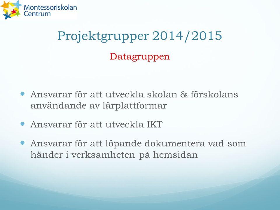 Projektgrupper 2014/2015 Datagruppen Ansvarar för att utveckla skolan & förskolans användande av lärplattformar Ansvarar för att utveckla IKT Ansvarar för att löpande dokumentera vad som händer i verksamheten på hemsidan