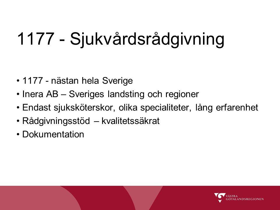 1177 - Sjukvårdsrådgivning 1177 - nästan hela Sverige Inera AB – Sveriges landsting och regioner Endast sjuksköterskor, olika specialiteter, lång erfa